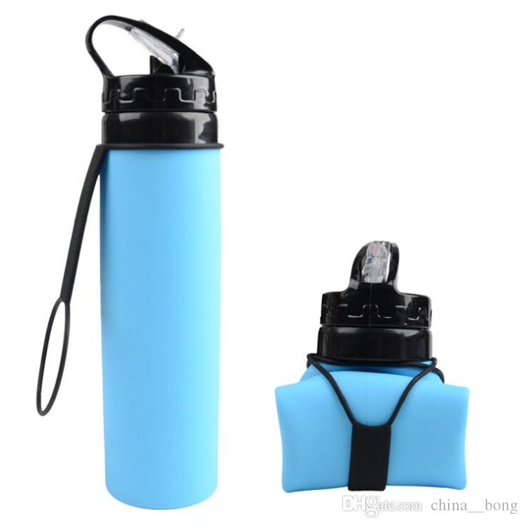BPA Free Bere Bottiglia d'acqua in plastica Silicone pieghevole Sport tazze d'acqua bottiglia d'acqua pieghevole con logo personalizzato