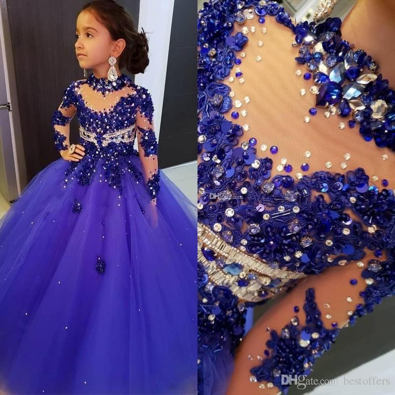 2020 High Neck цветок девочки платья для свадьбы Длинные рукава Royal Blue Бисер девушки Pageant платье Длина пола Дети Birthday причастие платье