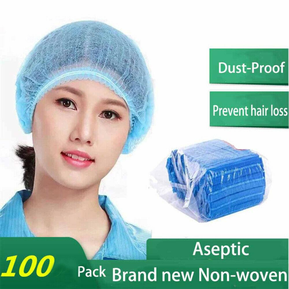 In Stock! Free Shipping! 100pcs Disposable Hair Net Bouffant Cap Non Woven Stretch Dust Cap Head Cover