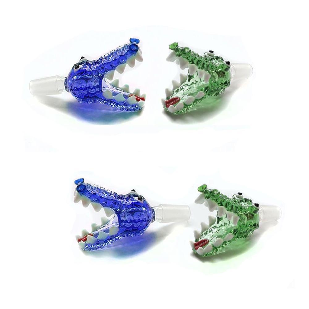 coccodrillo verde e blu ciotole di giunti maschili da 18 mm e 14mm ciotola di vetro pezzo di Bongs ciotola per il narghilè accessori per fumo di tabacco Bong Bong