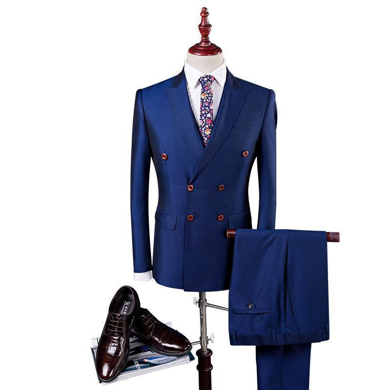 Pop 2019 Double Breasted Suit Men Slim Fit Wedding Suits For Men Black Royal Blue Royal Blue Tuxedo Jacket+Pants+Vest