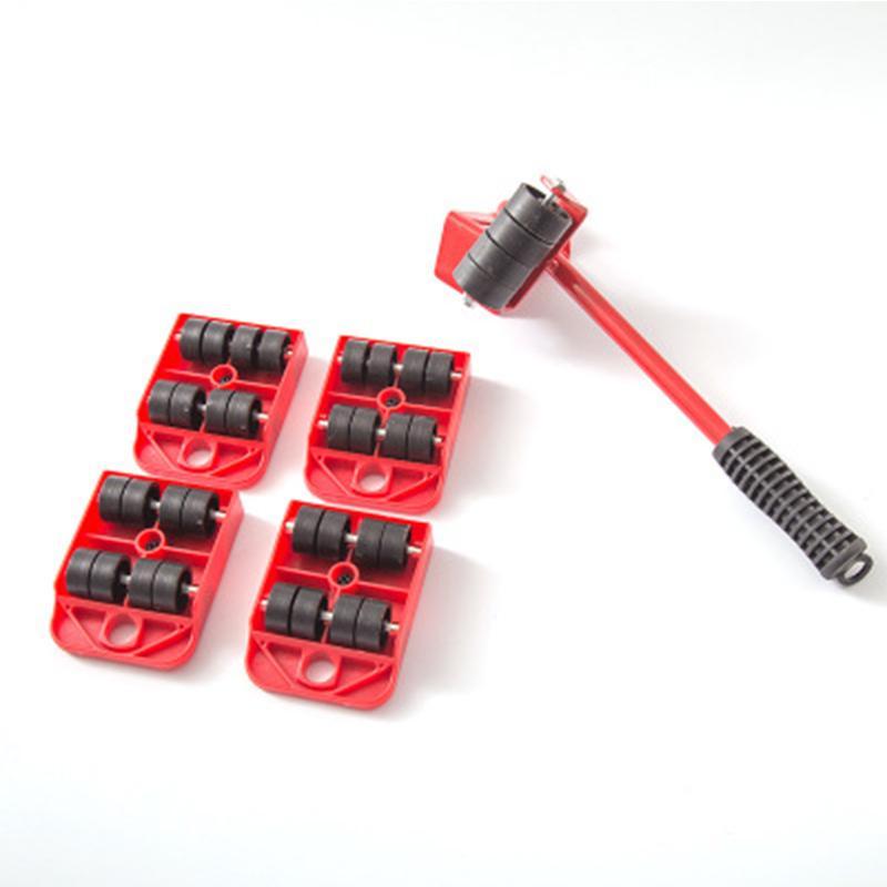 Rodillo de 4 ruedas + 1 barra de rueda Herramientas manuales Juego de transporte de muebles Juego de herramientas manuales de elevador de muebles