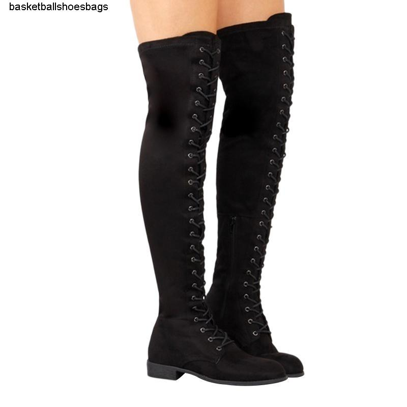 Зимний Sexy 2019 Женщины Hot Over-The-коленный женщина Узелок Женская обувь из замши высокие сапоги Y200115