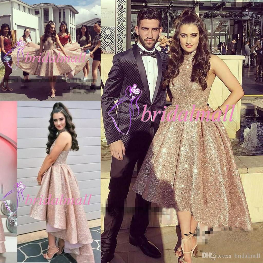 High Neck 2019 A-Line Prom Dresses High Low Special Occasion Dress Hi-Lo Vestidos De Soiree Formal Evening Long Party Gowns Homecoming Dress