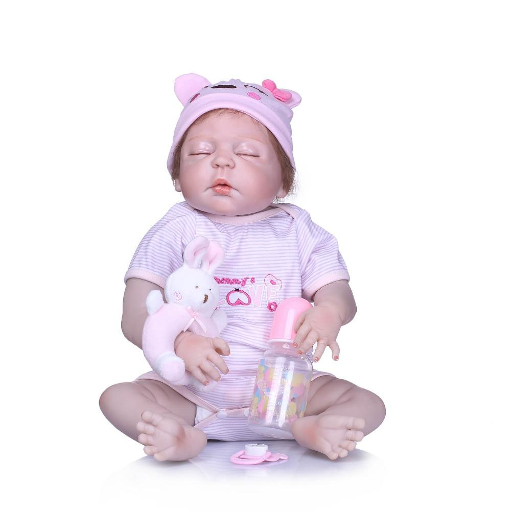 Bebe Reborn 22inch Silicone Newborn Dolls Lifestyle Soft Princess Toys For Girls Baby Reborn Fashion Toys