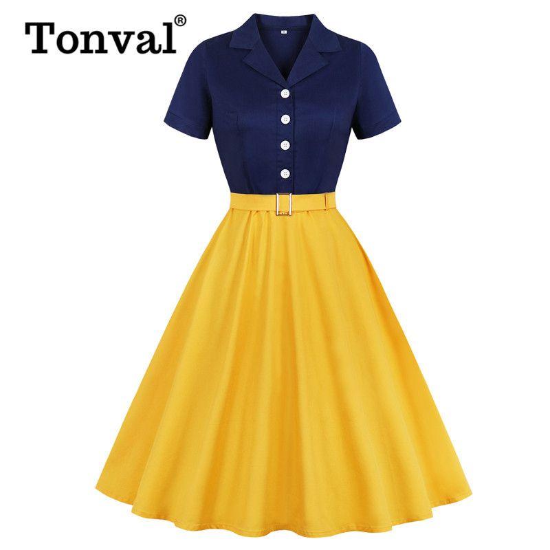 Tonval bleu marine et jaune deux boutons de tonalité en coton robe élégante femmes Belted Rockabilly Vintage Taille Plus Midi Robes MX200319