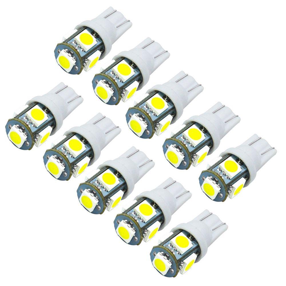 JIAWEN 10 PCS T10 LED ampoules de voiture 5050 SMD Blanc Wedge Intérieur Côté Tableau de Bord Licence Lumière Lampe DC 12 V