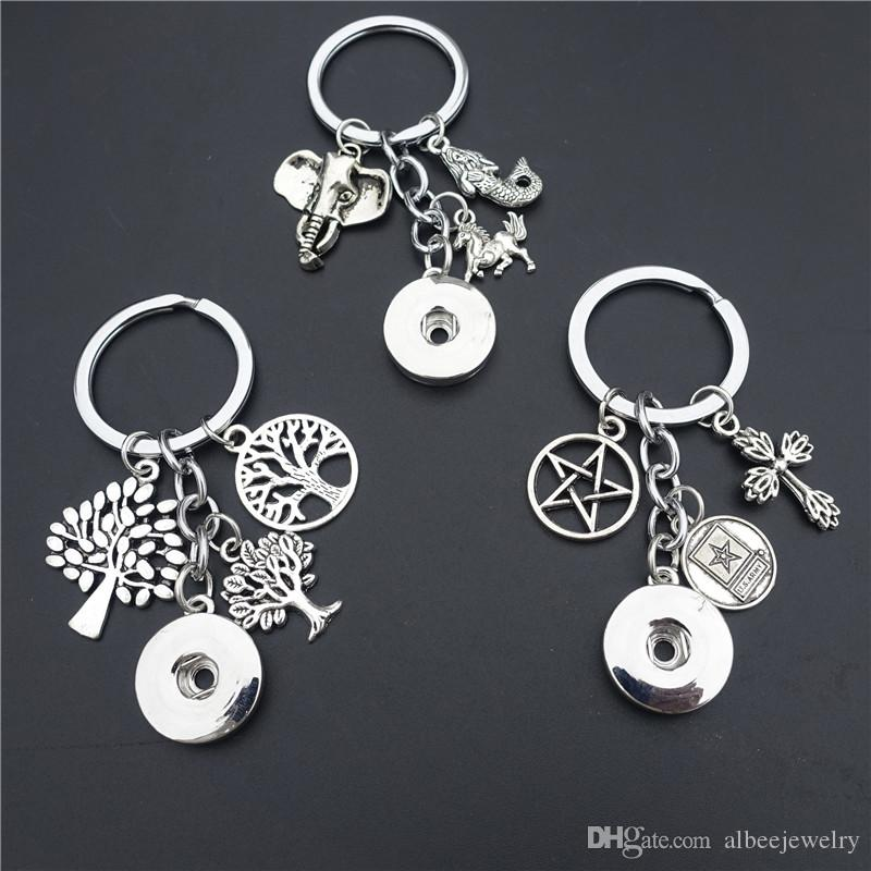 Mermaid Elephant Horse Trees Cross Stars Keychain Metal Ginger 18mm Snap Buttons Keyring Noosa Chunks Jewelry
