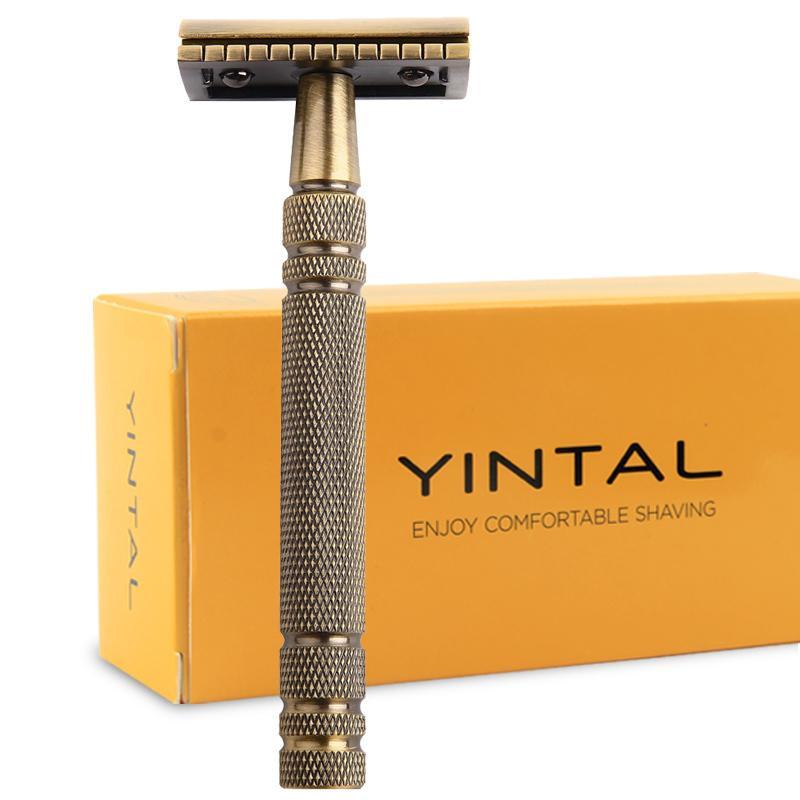Razors For Shaving Men Double Edge Razor Brass Bronze Style Blade Replaceable Classic Safety Razor J190712