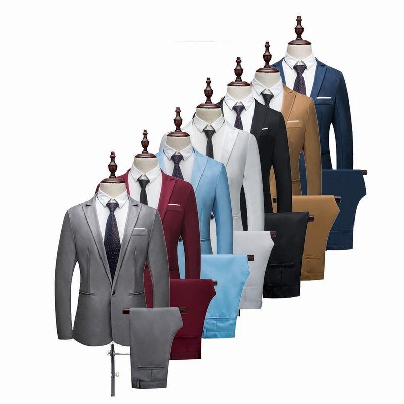 VERTVIE 2018 Marque Hommes Costume Fashion Costume solide Casual Slim Fit 2 Pièces Costumes de mariage Hommes Vestes Homme Taille Plus 3XL