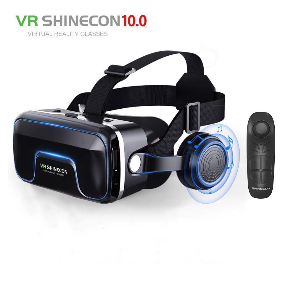 Hot! 2019 Google Cardboard VR shinecon Pro VR Version Virtual Reality lunettes 3D + Bluetooth Smart Wireless Gamepad Télécommande T191013
