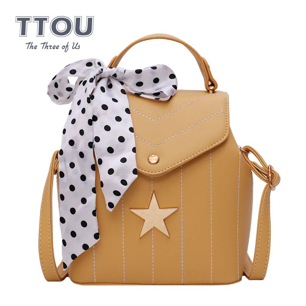 Fashion Star Cute Women Backpack with Ribbons Multifunction Striped Shoulder Bag Bow Female Top-Handle Bag Rucksack Travel Bag