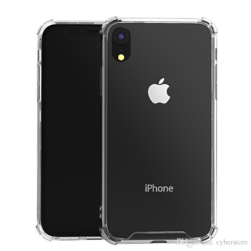 Para iPhone X Xr XS Max 7 8 cristal claro transparente TPU de parachoques acrílico a prueba de golpes Caso duro de la contraportada