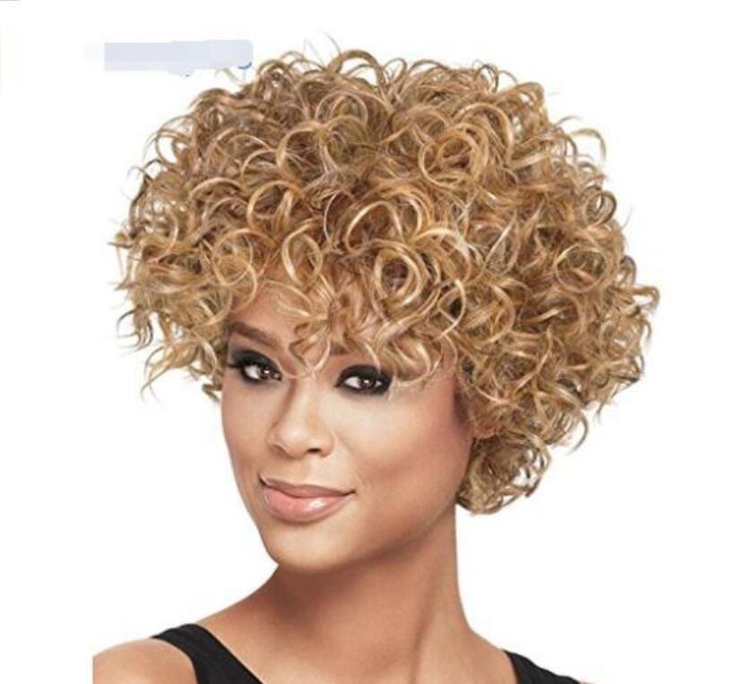 Европейские и американские модные дамы светло золотой малый объем высокотемпературный шелк смешанный цвет короткие волосы внешнеторговый парик неограниченное очарование