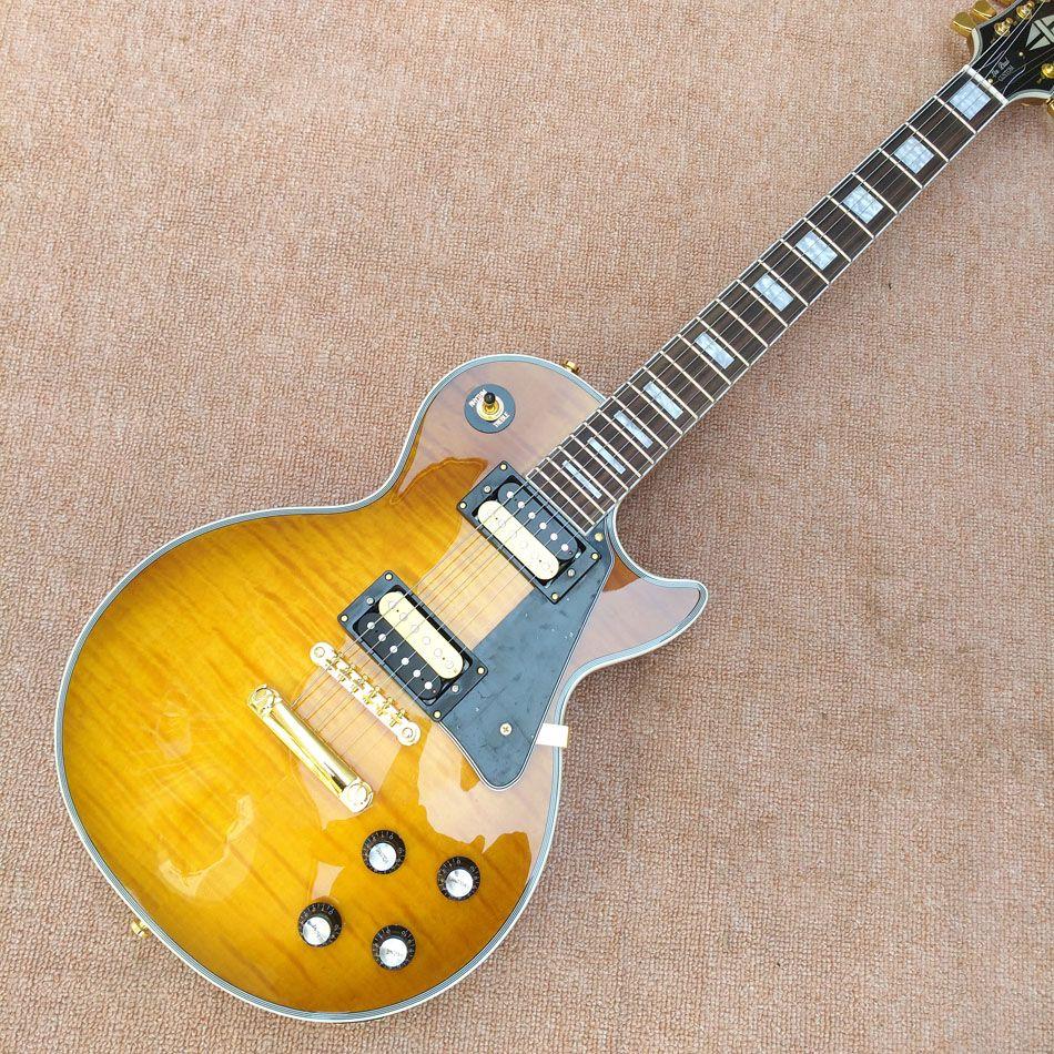 Сделано в Китае, новый тигр топ обычая, желтый LP гитары, можно настроить все виды электрической гитары, бесплатная доставка