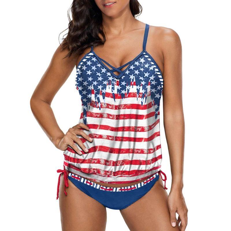 Swimdress дама Tankini Установить Женщина печати Push-Up Bra проложенного пляж бикини Set Четвертого июля костюм Купальник Beachwear Swimwear