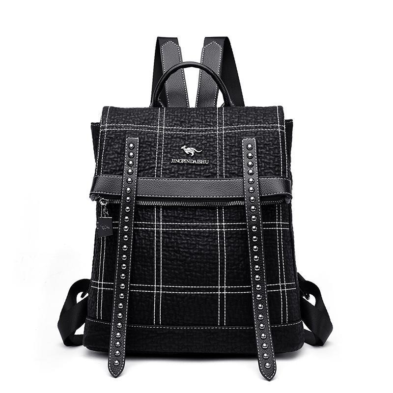 Multifunction Thread Backpack Women Leather Youth Backpacks for Teenage Girls Female Shoulder Bag Women Travel Rivet Bags