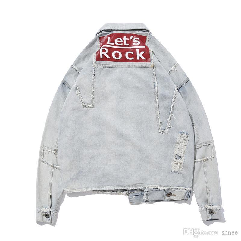 Erkek Hip Hop Denim Ceket Komik Mektup Baskılı Kırık Delik Jean Ceket Erkekler için Bahar Sonbahar Streetwear Coat