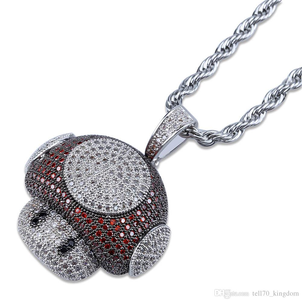 No Chain Ice on Fire Jewelry 925 Sterling Silver Mushroom Pendant Necklace