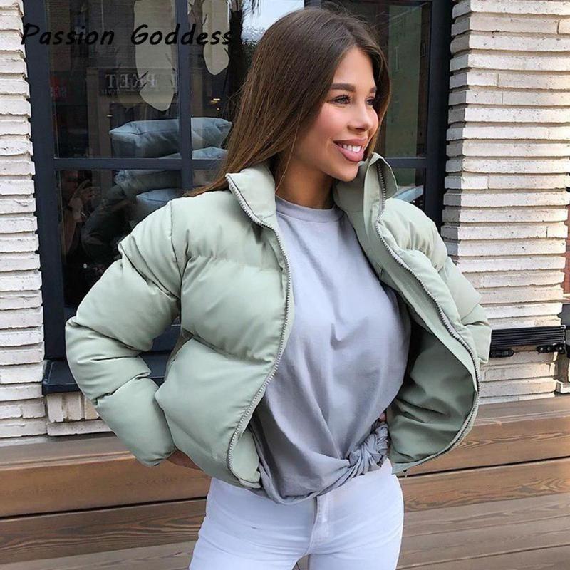 Moda Donna Bubble Coats Giù Parka Puffer giacche corte cappotto caldo outcoat Zipper stand colletto della giacca oversize Parkas Mujer