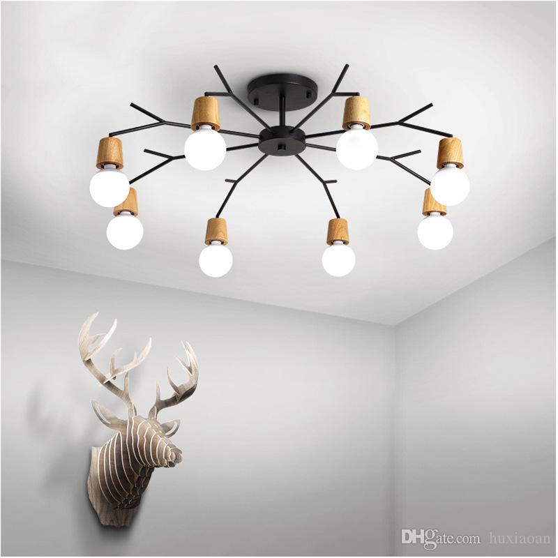 Nordic Teto de madeira LED Modern Luz Para casa Sala Quarto Teto lâmpada Luminaire Lampara Techo AC 85-265V E27