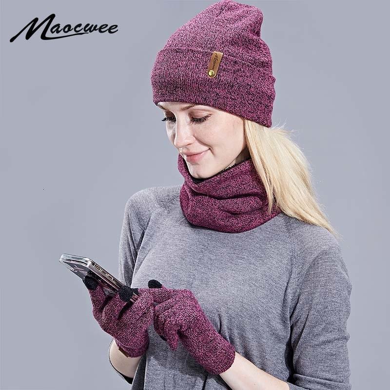 Guantes de punto nuevo del sombrero del invierno de la bufanda de las mujeres Conjunto grueso de la pantalla táctil del guante Gorros anillo bufanda Mujer para niñas V191105 regalo