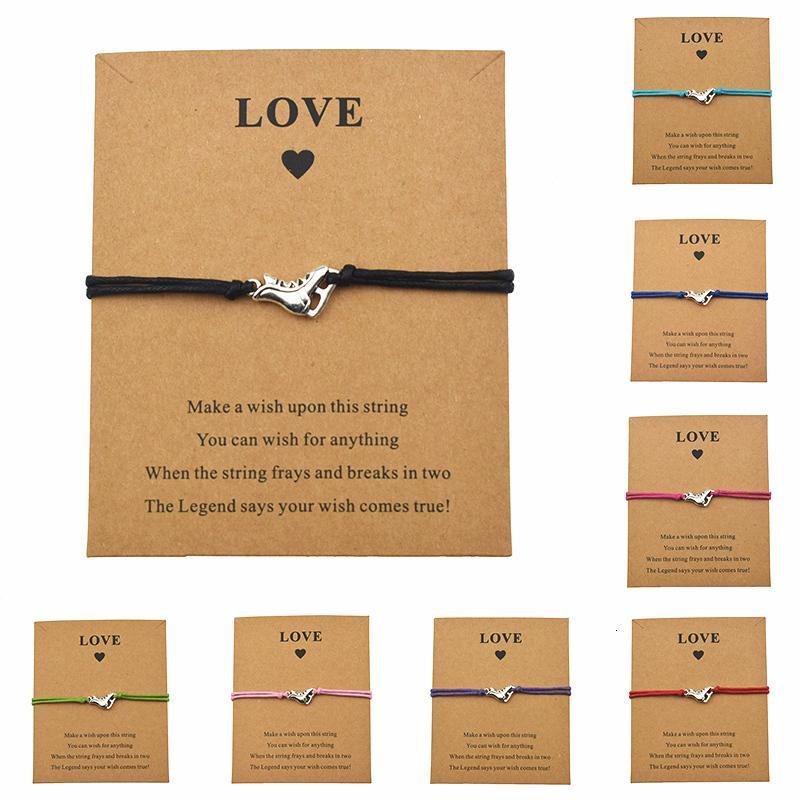 Neue heiße Frauen-Mädchen-Liebe-Skating-Schmuck Silber Schlittschuhe Stiefel Schuhe Charm Eine Karte glückliche Armbänder Freundschaft Geschenke