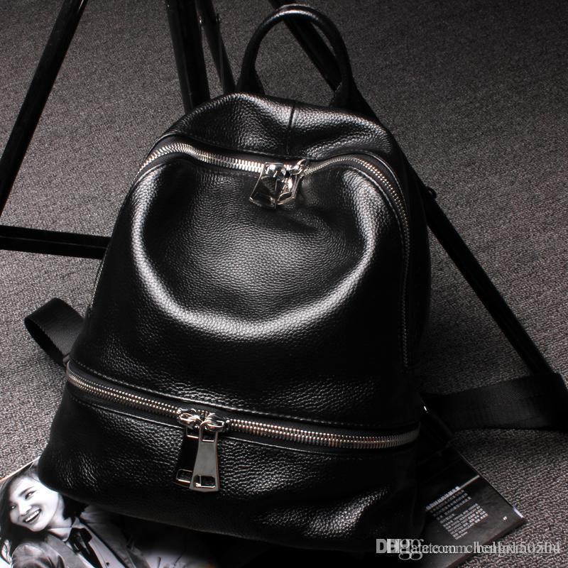 QUALITÉ sac à dos de la marque européenne de luxe de style design en cuir véritable paquet multi-poches sacs à dos unisexe sacs à main sac de Voyage populaire