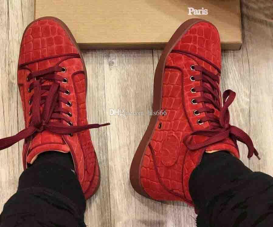 Yüksek Kalite Markalar Düz Spike Kırmızı Alt Spike Sneakers Erkekler, Kadınlar Casual Flats Parti Tasarımcısı Sneaker Yüksek Üst Hiçbir Çivili Kırmızı Deri