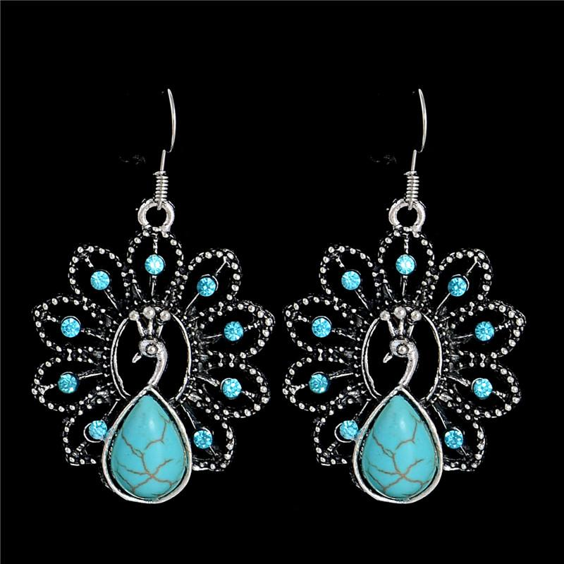 High Quality New Retro Series Peacock Earrings Charm Exquisite Palace Resin Earrings for Women Jewelry