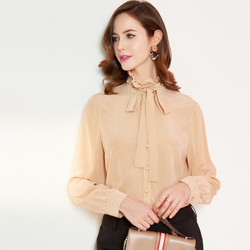 100% piste shirt en soie naturelle femmes lacent Bow Collar manches longues Volants mode High Street Chemisier Casual Shirt