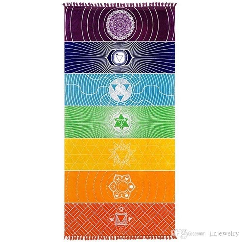 JLN Yoga Mat Tapestry Rainbow 7 Chakra Stripes Seven Chakra Sarongs Beach Towel Summer Wall Hanging Mandala Blanket Travel Sunscreen Shawl