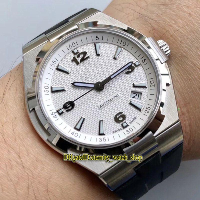 Лучший вариант 8F Overseas 47040 B01A-9093 Белая Дата циферблат Японии Miyota 9015 Автоматических Мужские часы стал 316L чехол каучукового ремешка Спортивных часов