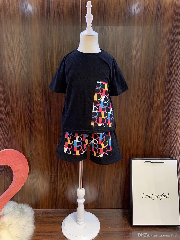 2020 ropa del bebé de Casual Niños Niñas verano de la manera t pantalones cortos Pantalones Trajes de ropa para niños de dos colores