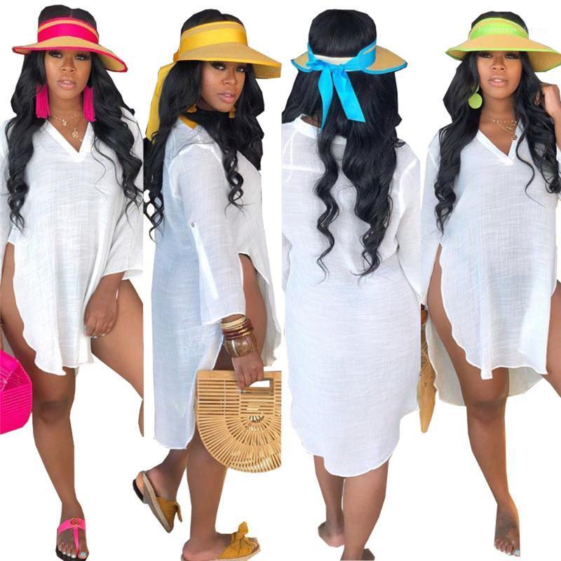 Kadın T shirt Yaz Plaj Uzun Casual Gevşek Split Yukarı Tasarımcı Tees Beyaz V Boyun Tops