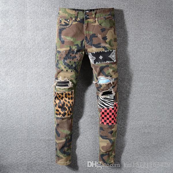 20 Stretch Nero Jeans Fashion Designer misura sottile lavato Moto pantaloni del denim Rousers Hip con pannelli ricamo pantaloni moda Fori per pantaloni