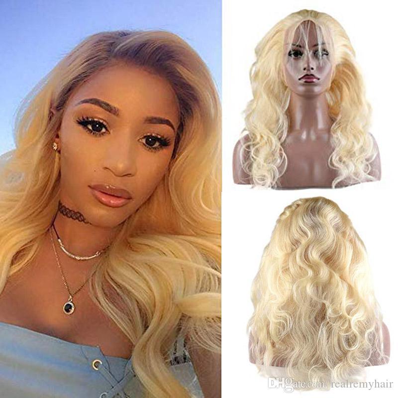 Brasiliano Body Wave Capelli Umani 613 Parrucche bionde Presocò 360 pizzo frontale con capelli per bambini 150 Density Natural Hair Line