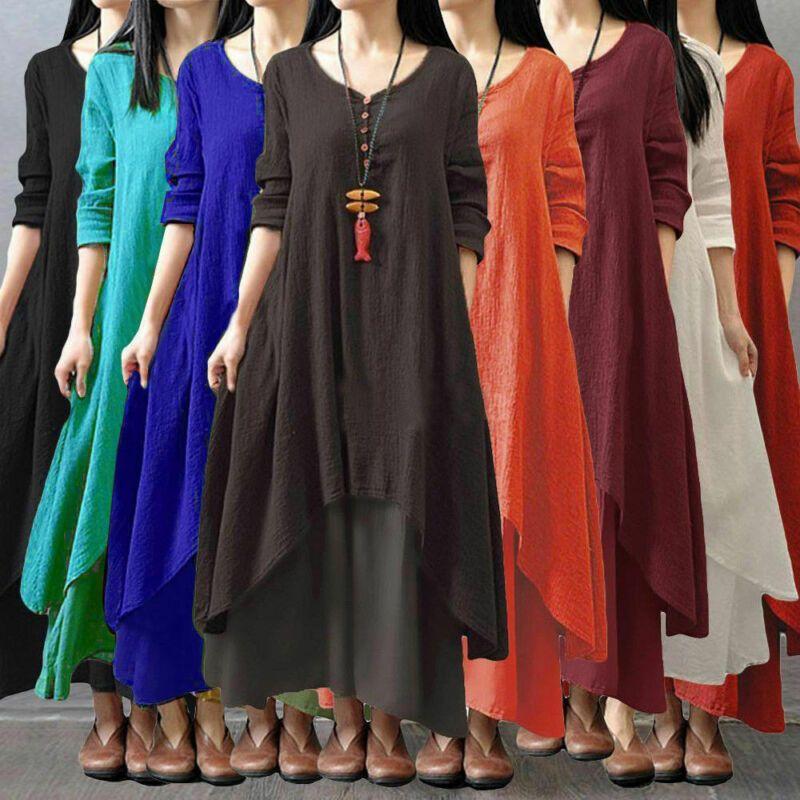 Yeni Bayan Uzun Kollu Boho Parti Casual Keten Kaftan Düğme Katı Maxi Elbise Uzun Elbiseler