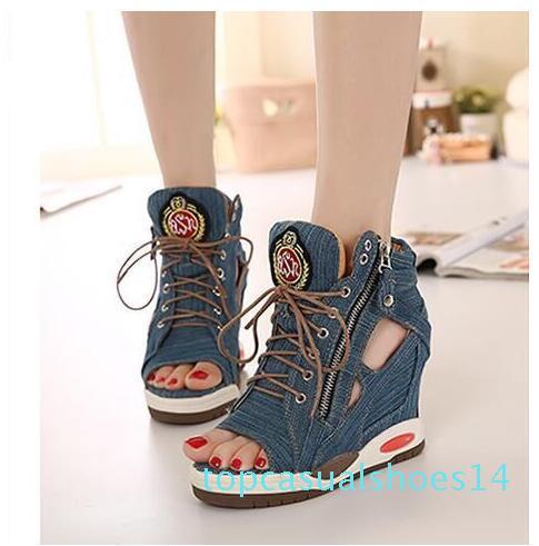 Бесплатная доставка 2019 Новый стиль Мода женщин Джинсовая обувь Девушки Повысить Lace вверх сандалии 14т