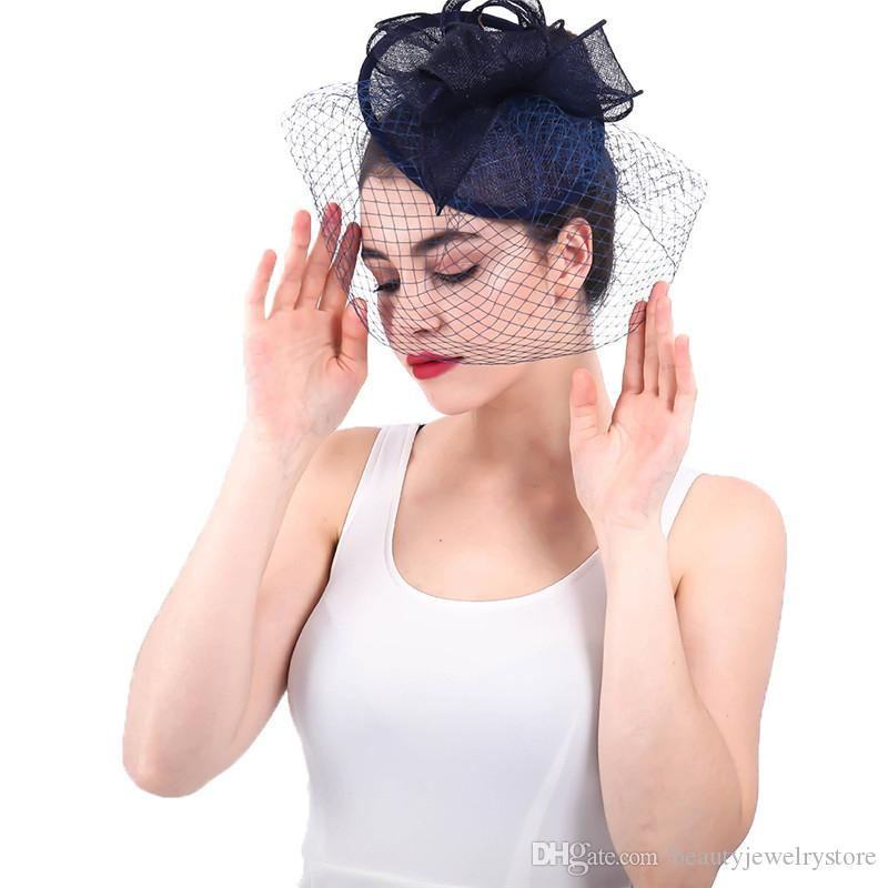Navy Blue Wedding Hats for Women Linen Flowers Bridal Hats with Face Veil Ivory chapeau femme mariage