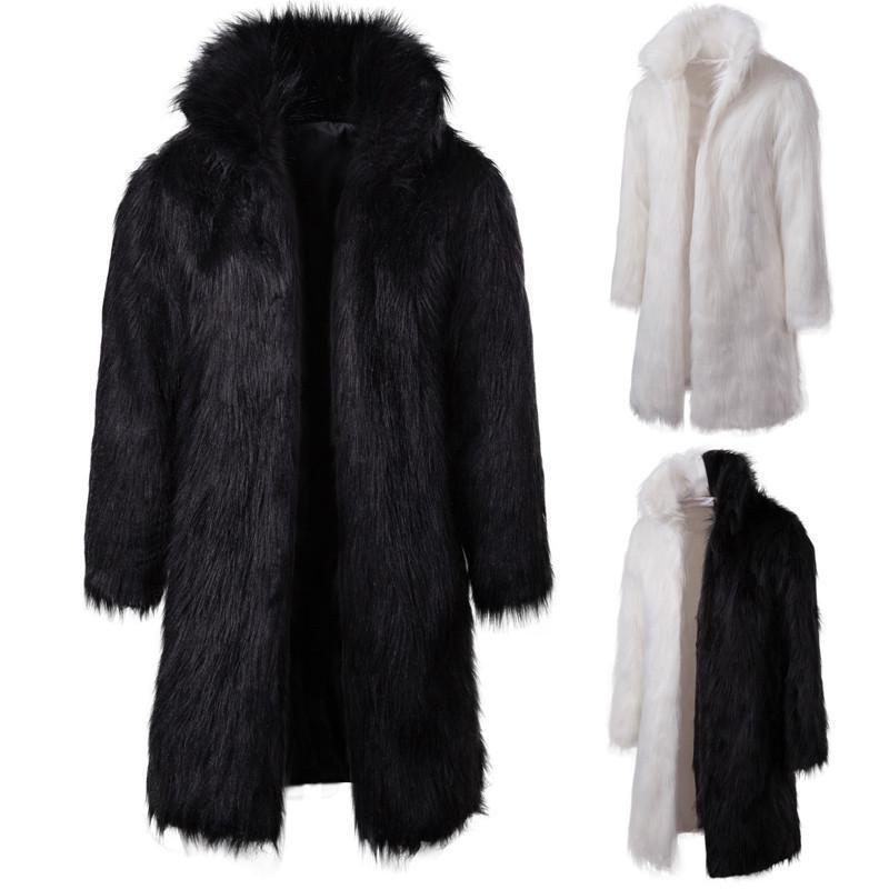 남성 겨울 두꺼운 따뜻한 긴 코트 가짜 모피 솔리드 후드 코트 전체 슬리브 느슨한 캐주얼 패치 워크 남성 의류