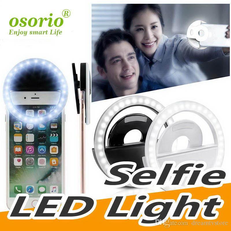 Bague LED universelle anneau selfie lumière supplémentaire éclairage de nuit obscurité selfie Amélioration de la photographie pour IP 7 8 X Samsung S9 S10