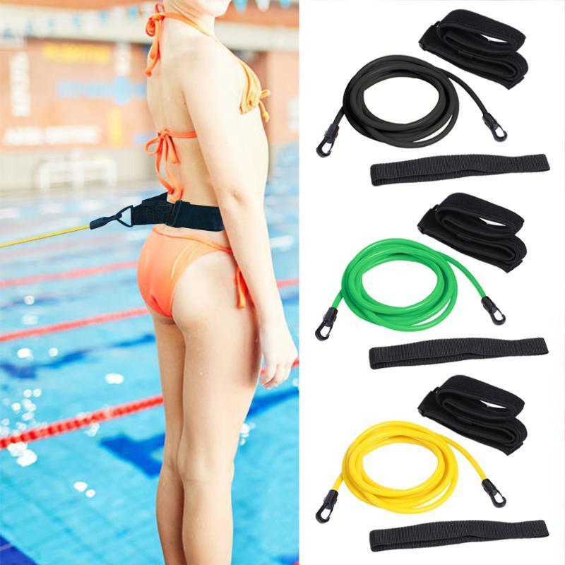 Ajustable cuerda Swim Entrenamiento de la resistencia elástica del cinturón de seguridad Piscina al látex Tubos varias especificaciones Styles Accesorios