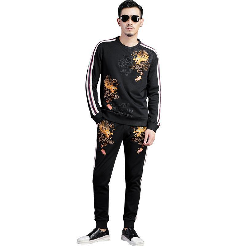 Autumn Winter Tracksuit Men Set Blazer Trousers Fashion Mens Suits Embroidery Casual Sportwear Fitness Joggers Black Track Suit