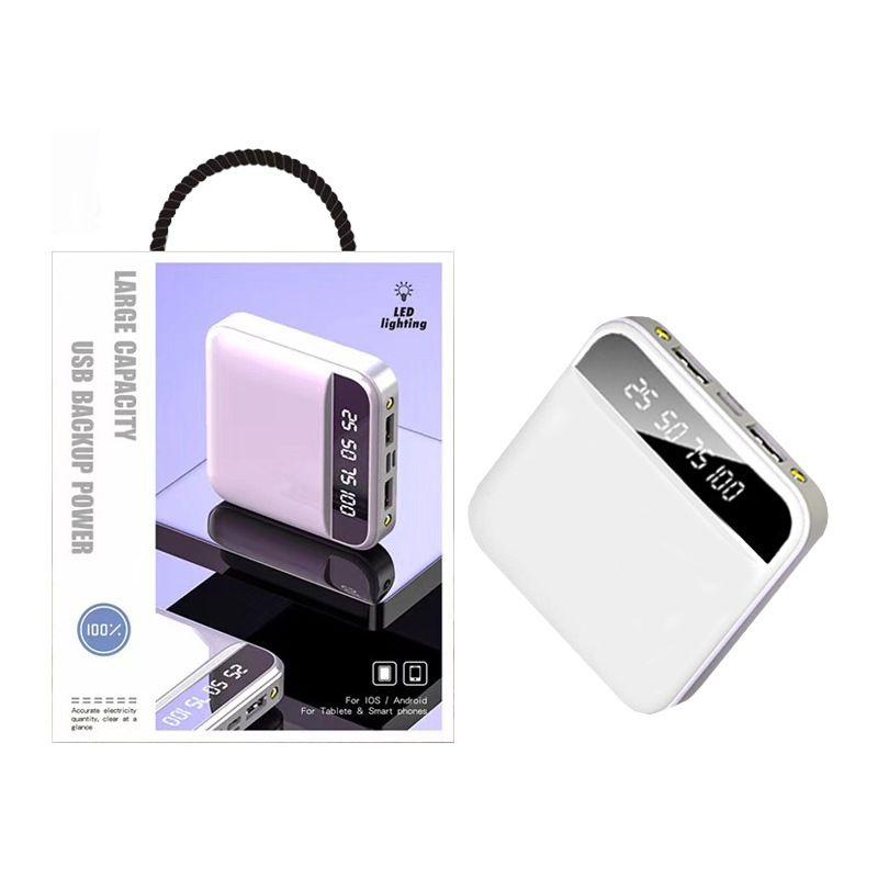 Luxus 20000mAh Energienbank 2.1A Lade Schnelle 2USB Stützbatterie für iphone 11 mit 2 LED-Leuchten und mit Kleinpaket