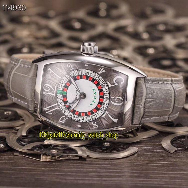 Luxry New Vegas CURVEX 8880 VEGAS EDITION SPECIALE MUNEGU Grau Dial CAL.SK automatische mechanische Herrenuhr silbrig Fall-Leder-Band-Uhren