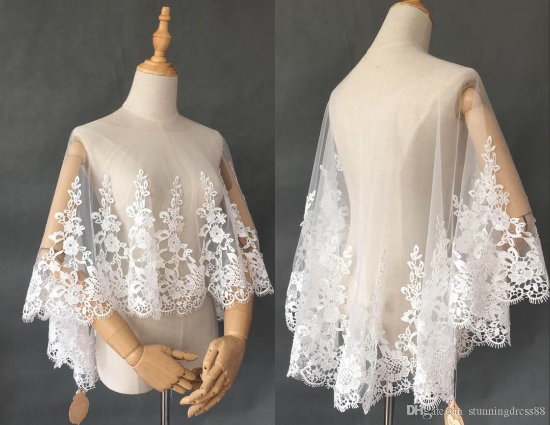 2021 Fashion Lace Wedding Bridal Wraps Shawls Bolero Poet Sleeves Tulle Applique Cheap Wedding Wrap For Wedding Dress Gowns Plus size