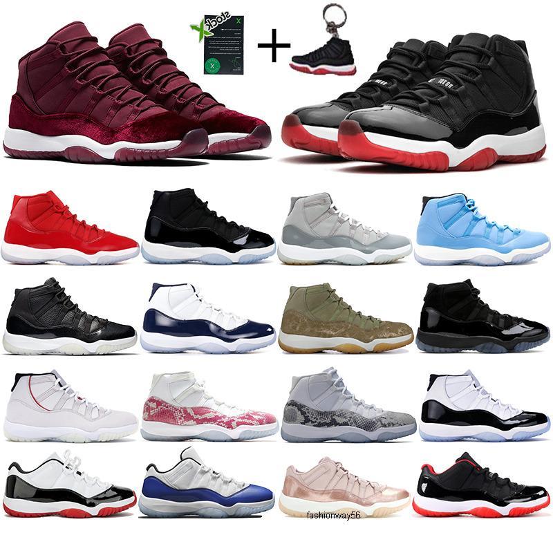 11s chaussures des nouveaux hommes de basket-ball Jumpman 11 haute nuit riche héritière pantone marron 45 confiture concord élevés espace des entraîneurs sportifs de concepteur hommes