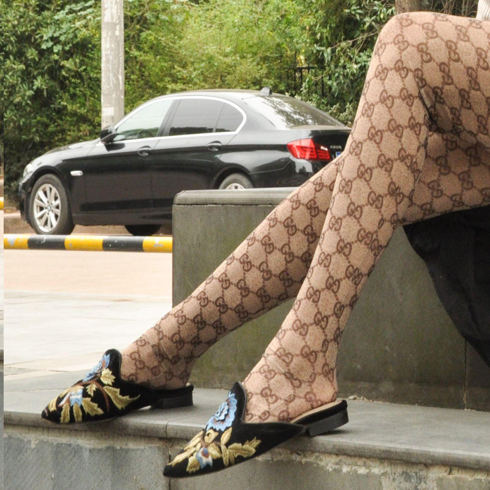 Pantynose Письмо Priented Леггинсы телесного Stretch Плюс размер носки Мода Гренадины осень и зима