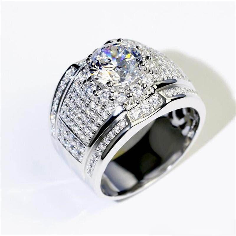 925 Silver Vintage Big Zircon Engagement Ring Wedding Jewelry Gift Size 6-10 UK